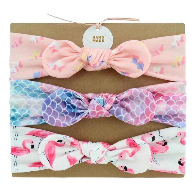 MIXIU 3pcs Baby Headbands Bow Elastic Hair Bands Cotton Rabbit Ear Turban Print Floral Bow Baby Turban Handmade Hair Accessories