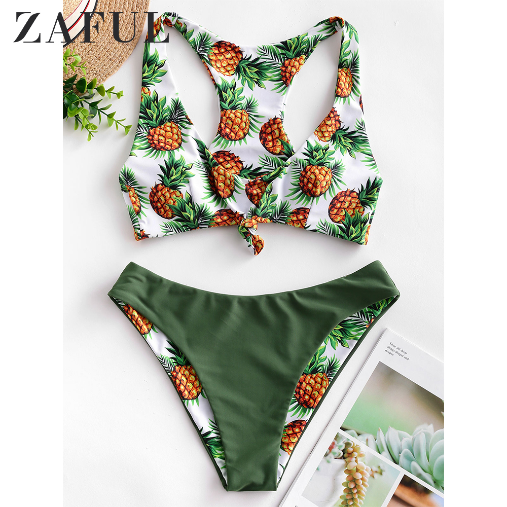 ZAFUL Womens Scoop Neck Tropical Leaf Knotted Two Pieces Tankini Set Swimsuit