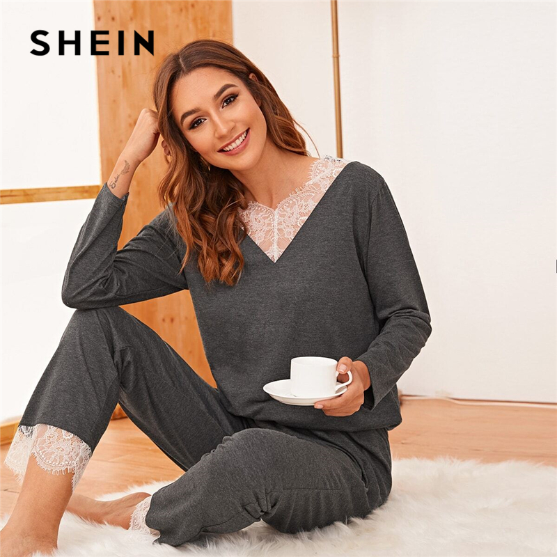 SHEIN Grey Contrast Lace Long Pajama Set Casual Nightwear Women Spring Long Sleeve Solid Sleepwear PJ Sets