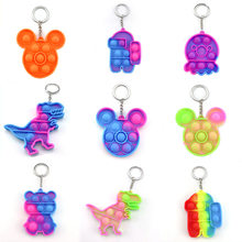 2021 Mini Push Pop Bubble Sensory Toy Adult Child Stress Reliever Pop-Its Fidget Keychain
