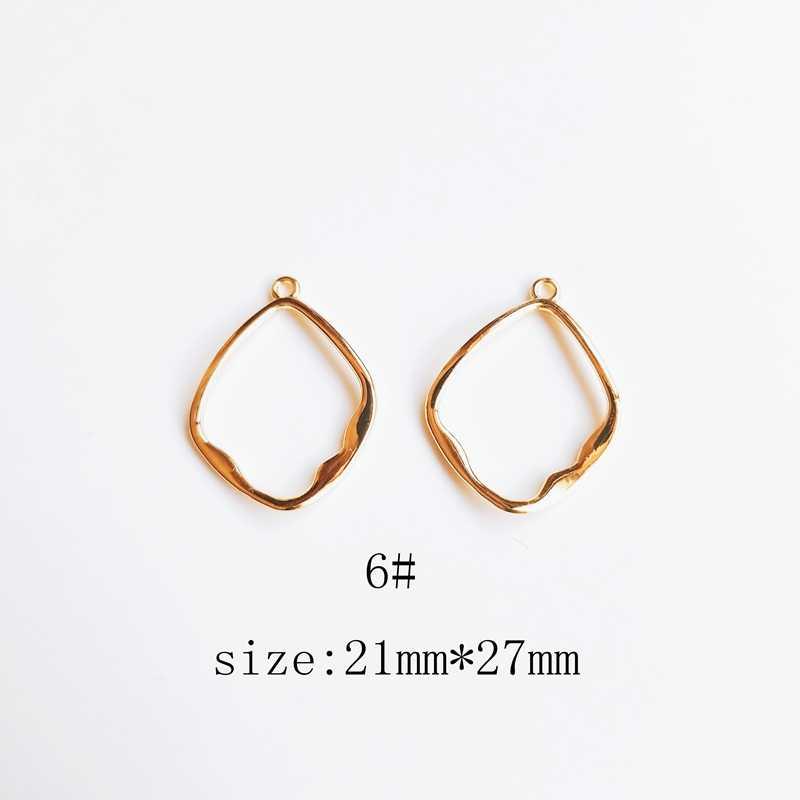 Avrupa ve amerikan alaşım altın retro dilsiz altın kalp elmas düzensiz yuvarlak şekilli DIY küpe kolye kolye aksesuarları