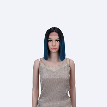 Synthetic Short Straight Bob Wigs For Women Medium Length Hair Cosplay Wig Ombre Black Teal Green Bobo Hair style Classic Plus bob style grey ombre white fashion medium synthetic straight side bang capless wig for women page 1