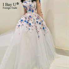 Real Photo Luxury Full Beaded Ball Gown Evening Dress Flower Shape Beading Long Sexy Illusion Long Sleeves Formal Party Dress(China)