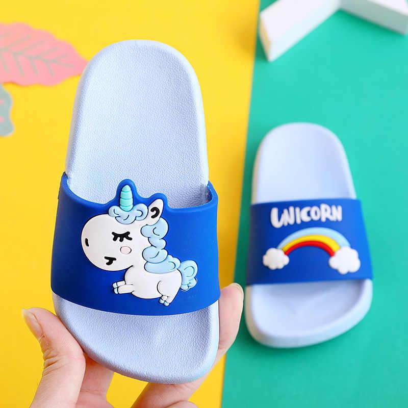 Nicht-rutsch Niedlichen Cartoon Einhorn Hause Schuhe Kinder strand Hausschuhe kinder Hausschuhe Für Jungen und Mädchen Sommer Innen hausschuhe