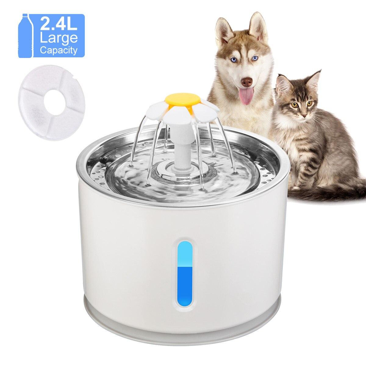 2.4L автоматический фонтан воды кота светодиодный Электрический немой подачи воды USB собак любимчик миска для домашних животных питьевой дис...