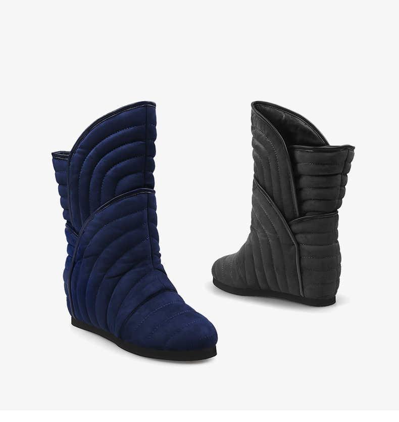 Yuvarlak ayak kadın rahat kama çizmeler mavi süet kısa kış kar patik moda gri Platform Botas Femininos siyah sıcak Botines