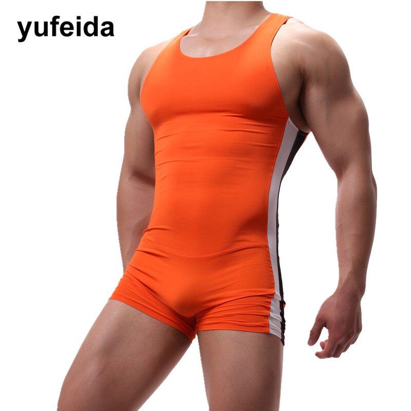 Sexy Mens Undershirts One-piece Leotard Sport Bodysuit Jumpsuit Swimwear Wrestling Singlet Underwear Boxer Shorts U convex Pouch