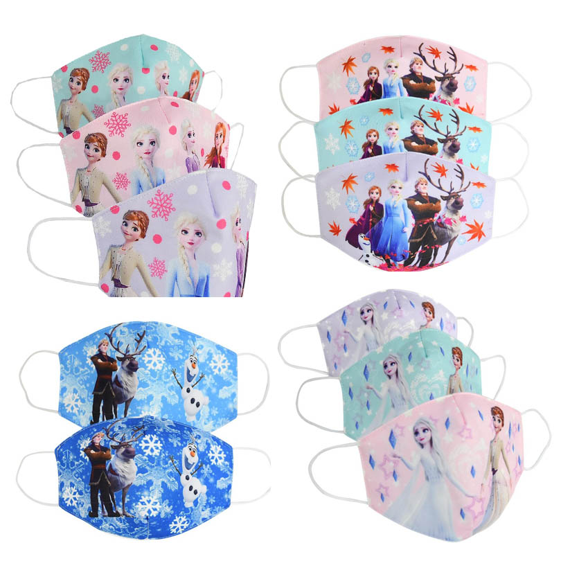 2020 Unisex Cotton Face Mouth Mask Kids Children Cute Cartoon Printed Princess Elsa Anna Dustproof Cover Anti Dust Mouth-Muffle