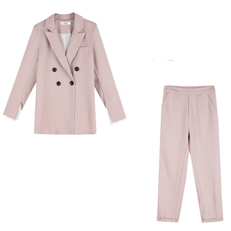 Drop Shipping Striped Women Blazer Suit Set Long Sleeve Women Pant Suits Office Ladies 2 Pieces Set Female Trouser Suit