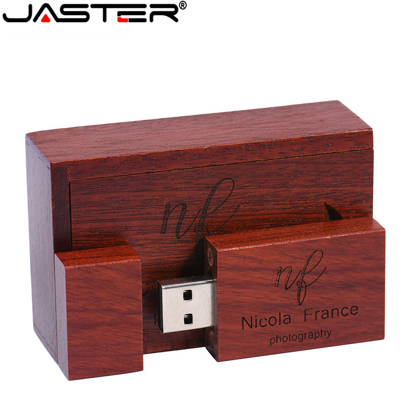 JASTER (1 PCS Free LOGO) Wooden USB Flash Drive USB+box Pendrive 4GB 8GB 16GB 32GB 64GB Custom LOGO For Photography Wedding Gift