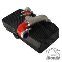 Top Mount Uprated Intercooler Fits For S*ubaru 02 07 WRX STI EJ20 EJ25 GD Black+Y Pipe Kit