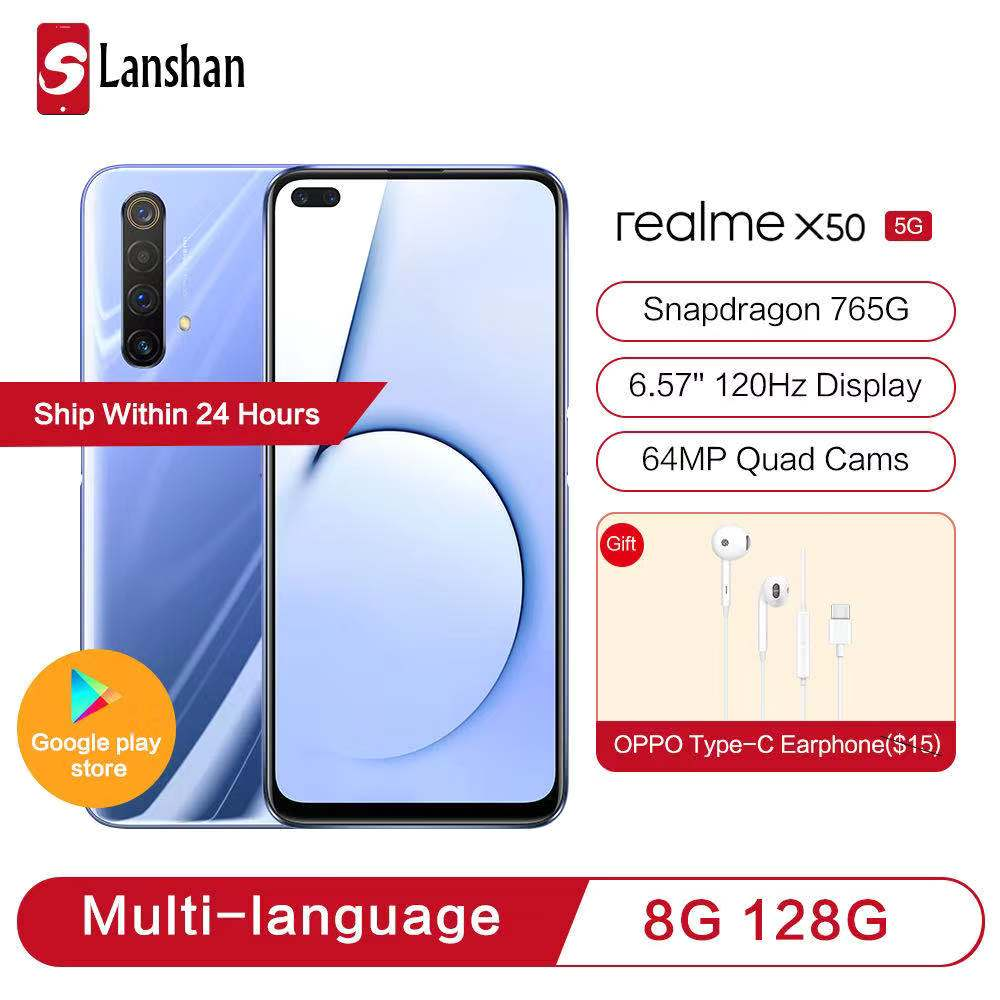 In Stock realme X50 Dual Mode 5G Youth Flagship Snapdragon 765G 120Hz Fluid Screen 64MP Zoom Quad Camera 30W VOOC Mobile Phone