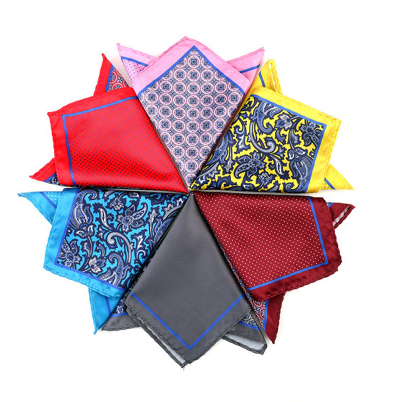 Mens Pocket Square Print Floral Hanky Classic Wedding Party Handkerchief Soft Silk Vintage Hankies Chest Towel Accessories Gift