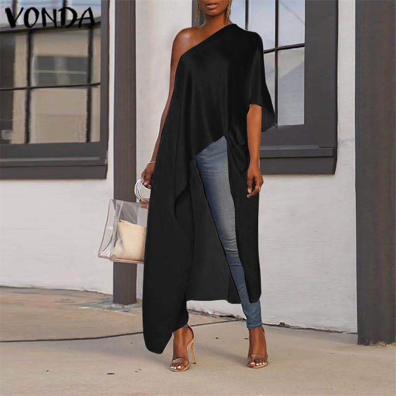 VONDA Long Blouse Women Asymmetrical Tunic Sexy Off One Shoulder Party Shirts 2019 Holiday Beach Tops Plus Size Blusas Femininas