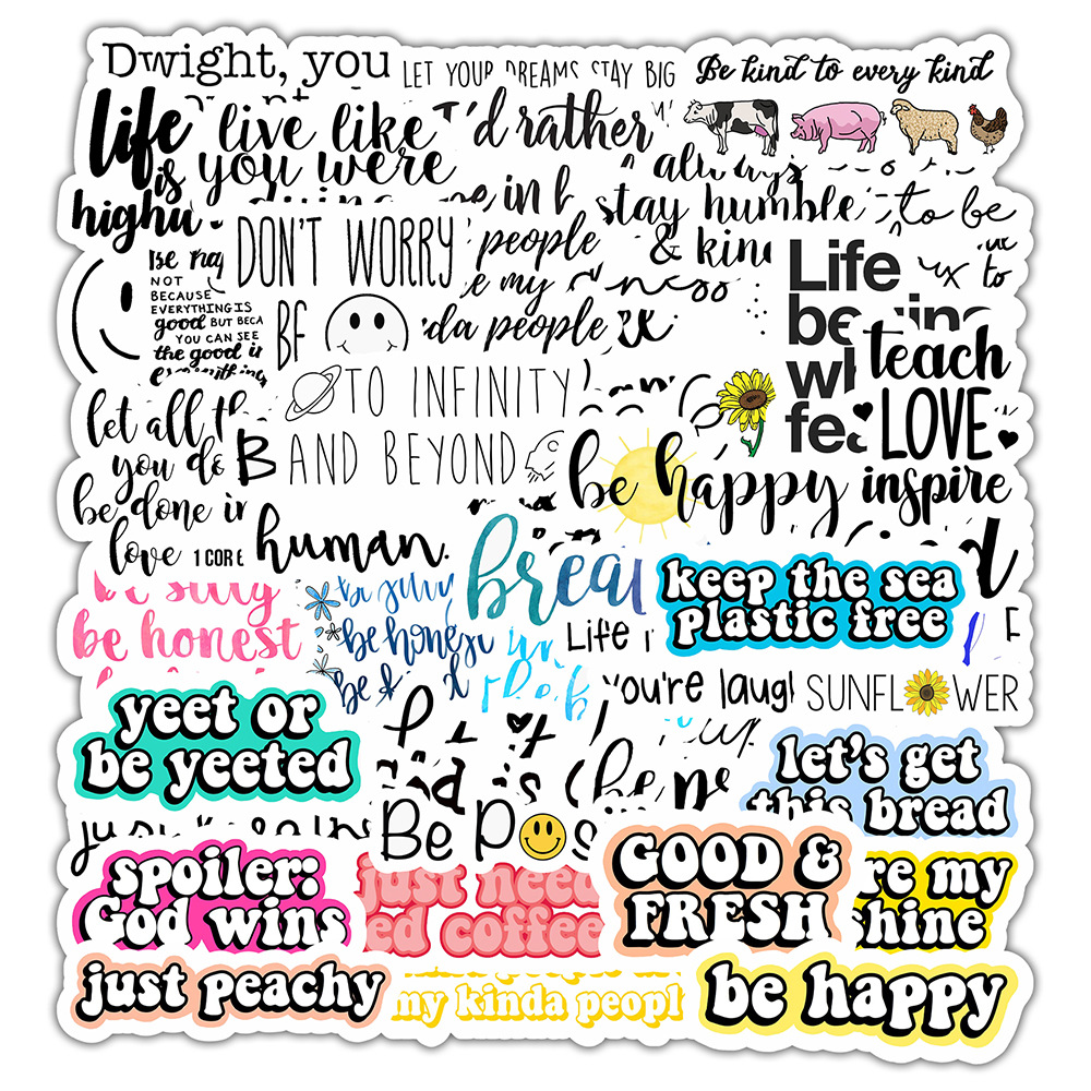 50Pcs English Letters Cartoon Quotes Stickers Laptop Skateboard Luggage Decal US