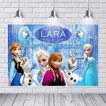 Photography Backgrounds Frozen Ice Queen Princess Elsa Children Baby Backdrop Decor Photocall Backdrop Photo Studio Banner(China)