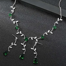 все цены на Dazz Luxury Leaf Water Drop Long Nigerian Jewelry Set Women Wedding Zircon Crystal CZ Bride Fashion Necklace Earrings Sets 2019 онлайн