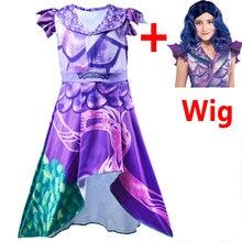Meninas cosplay traje descendentes 3 vestido roxo cosplay traje crianças mal trajes de halloween crianças festa de carnaval vestir-se