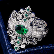 Luxury Court Style Silver Green Crystal Wedding Rings for Bridal Wedding Rings Engagement Jewelry Valentine's Day Gift Jewelry