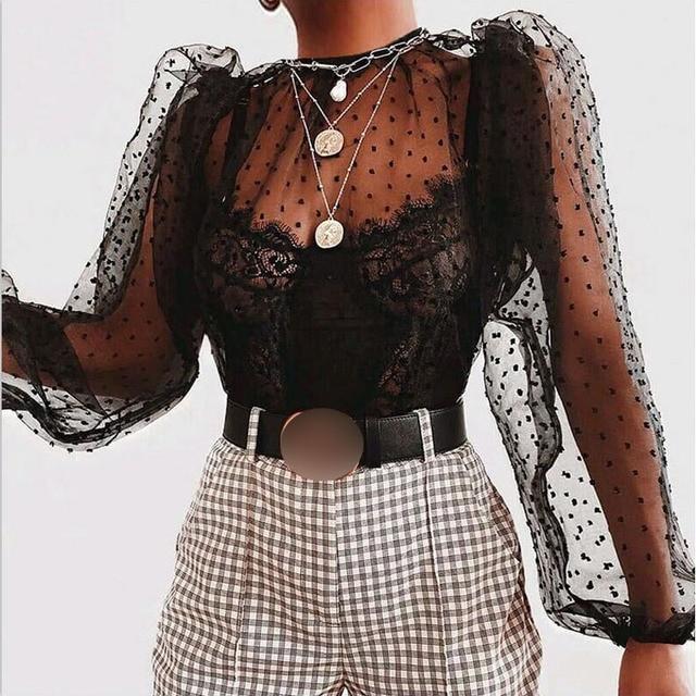 Women Polka Dot Blouse See Through Sheer Mesh Long Puff Sleeve Tops Clubwear Turtleneck Party Streetwear Shirts Vestidos