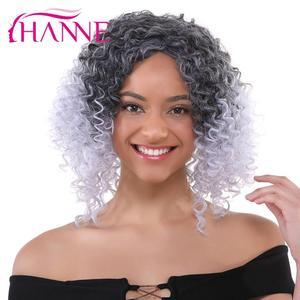 HANNE афро вьющиеся синтетические парики от черного до фиолетового/синего/серого Ombre парик из высокотемпературного волокна для чернокожих же...