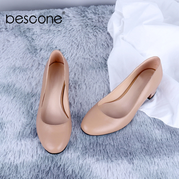 BESCONE New Office Women' s Pumps Solid High Quality Sheepskin Shallow Elegant Square Heel Pumps Handmade Career Shoes BC646