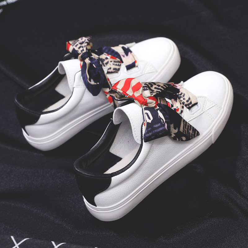 Women White Casual Shoes Riband Lace Leather Waterproof Sneakers With Bow Silk Ribbon 2019 Autumn New Scarf Lacing Low Top 35-40