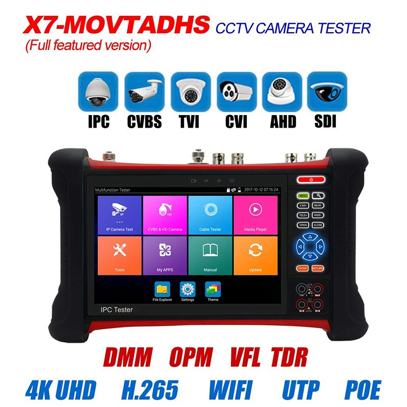 Testeur de IG CCTV moniteur X7 H.265 4K 8MP TVI CVI AHD SDI CVBS testeur de caméra IP avec TDR, multimètre, prise de câble - 1