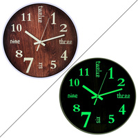 30cm Creative Noctilucence Clock Silent Wall Clock for Home Living Room Decor Imitation Wood Grain Digital Type 632