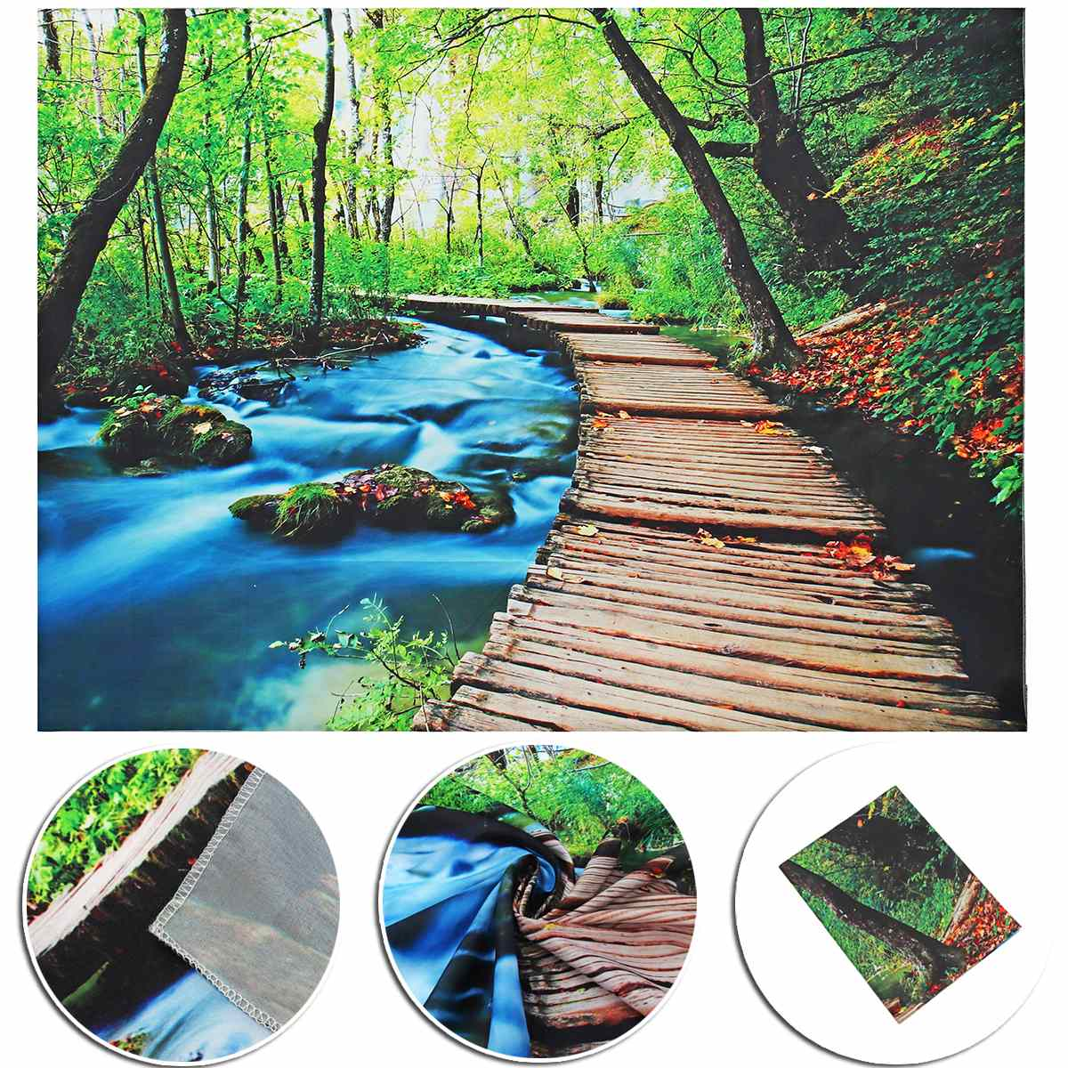 Beautiful Wall Hanging Tapestry Forest Beautiful Waterfall Hd Scenery Beach Towel Nature <font><b>Tenture</b></font> Mural Polyester Carpet Home Dec image