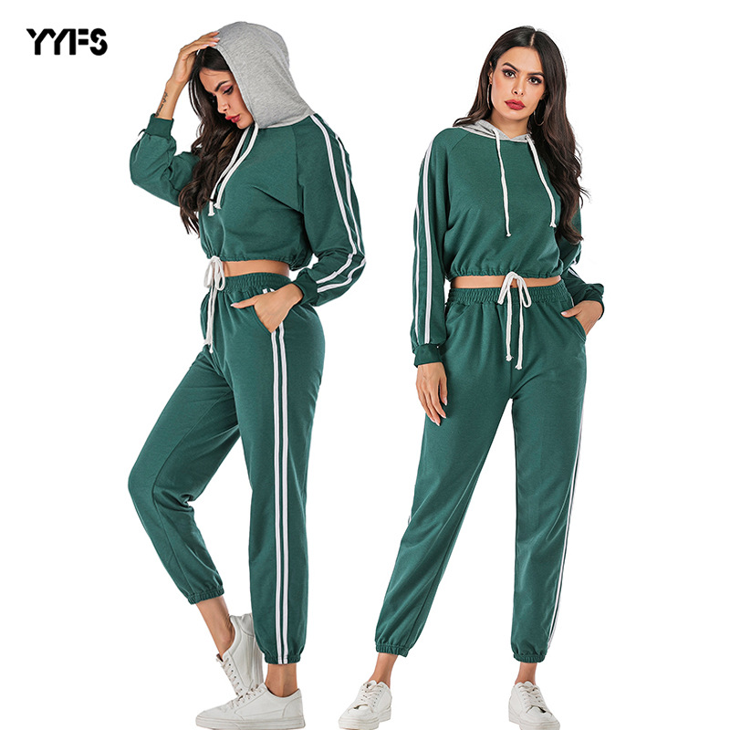 Europe And America WOMEN'S Dress  Autumn And Winter Joint Stripes Hoodie Trousers Set Two-Piece Set A Ge