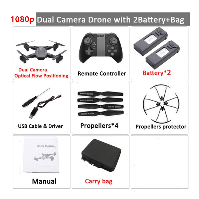 XS816 Quadcopter RC Drone with 50 Times WiFi FPV 4K /1080P Dual Camera Optical Flow Selfie Dron Profesional Helicopters VS SG106