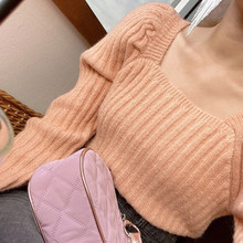 Square Neck Puff Sleeve Sweater Women Knitted Top Autumn Winter Cute Color Princess Look Jumper Pullover Pull Femme Jersey Mujer(China)