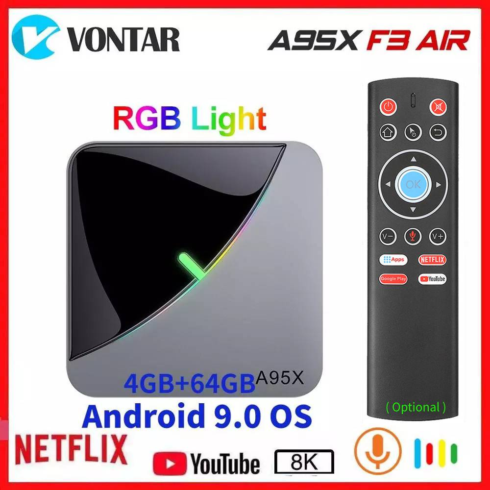 A95X F3 Air Amlogic S905X3 Android 9.0 TV BOX A95X F3 RGB Light Smart Set Top Box Max 4GB RAM 64GB ROM 8K Media Player OTA 2/16G