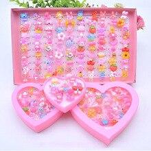12/24/36/Pcs/Set Kids Girl Makeup Jewelry Rings Toy Flower Bow Pretend Play Princess Kids Girl Rings Decor Girl Gift