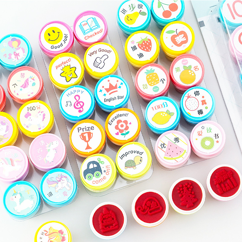 10 Pcs/set Unicorn Fruit Christmas English Teacher Reviews Stamps Seal Set For Scrapbooking Student Prize Promotional Stationery