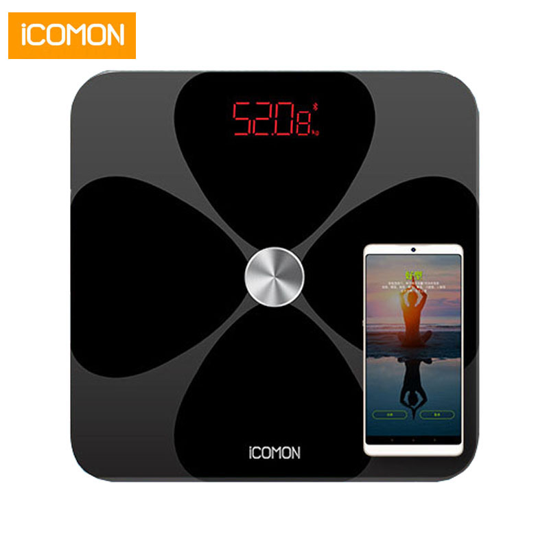 Hot ICOMON i90 Smart Bathroom Weight Scales Floor Body Fat Weighing Scale Bluetooth Balance 20 Index