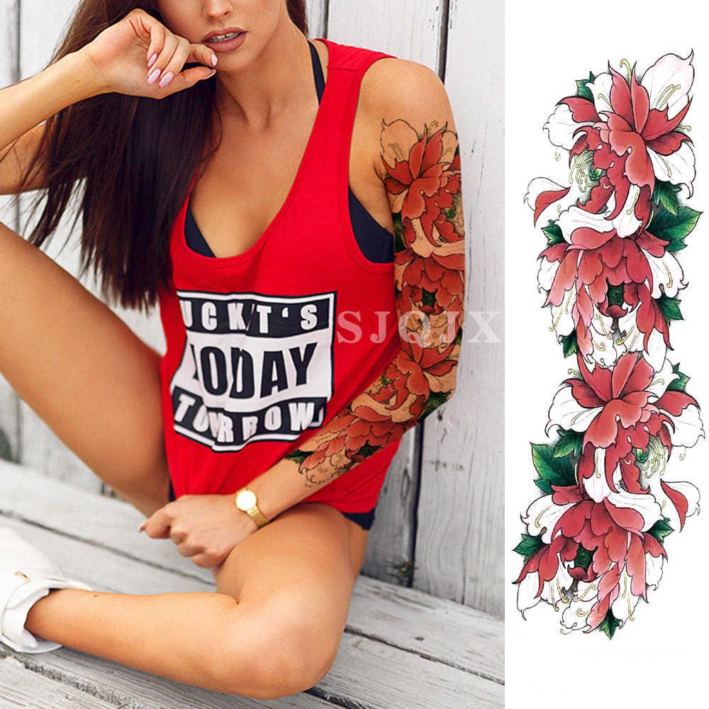 Büyük kol kollu dövmeler su geçirmez geçici gül Lotus kadın kız çiçek dövme etiket kafatası melek erkekler tam sahte siyah dövme