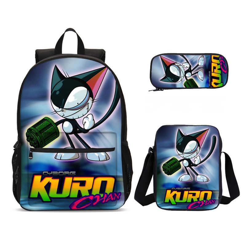 3 adet/takım portföy okul çantaları erkek kız Kawaii Anime kedi hayvan Neko baskı sırt çantaları çocuklar Bookbag Satchel okul çantaları