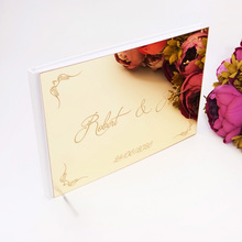 25*18cm Custom Couple Name Wedding Signature Guest Book Classical Design Acrylic Mirror Cover Personalized Blank Party Gift