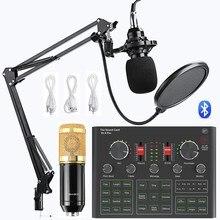 BM800 mikrofon kondensujący karta dźwiękowa V9X PRO mikser na żywo nagrywanie zestaw Mic telefon K piosenka komputer Karaoke śpiewać