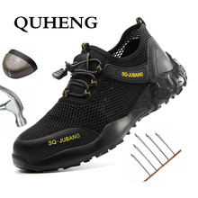 Men's Shoes Work-Boots Industrial-Shoes Steel Toe Comfortable QUHENG Safety Security