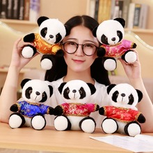 1pc 18cm Cartoon Cute Panda with Tang Suit Plush Stuffed Animal Toys For Baby Infant Lovely Doll Gift Present for Kids