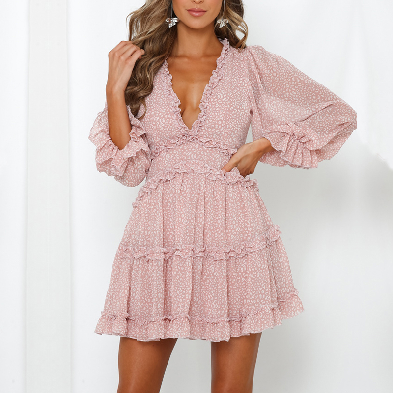Hot Sale Romantic Print Chiffon Mini Holiday Dress Women's Sexy Back Cut Out Beach Party Dress Frill Robe Skater Dress For Lady