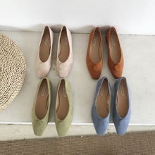 цены green ladies shoes low heel shoes Spring and autumn new low-heeled shoes women's suede shoes Soft bottom comfortable shoes