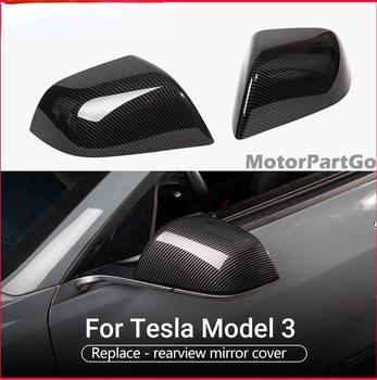 Real Crabon Fiber Mirror Cover  Exchange original 1 pair for  Tesla Model 3 2016-2020 T267M 1