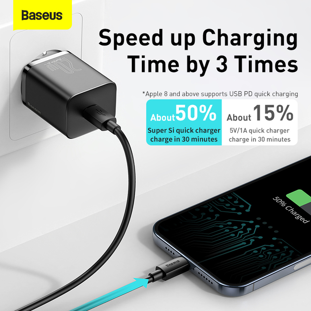 Baseus PD 20W Quick Charge QC3.0 QC USB Type C Fast Charging Charger For iPhone 12 Pro Samsung Xiaomi Wall Mobile Phone Charger 3