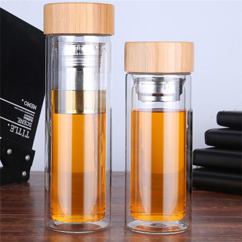 Doppel zauberstab glas wasser flasche tee-ei thermos Trinken Flaschen Mit Filter Sieb Bambus edelstahl Deckel Trinken