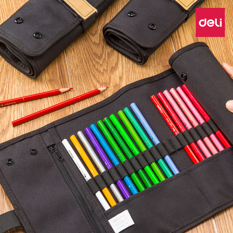 Deli Roll-up Pencil Bag Pen Curtain Roll Pen Bag Art Students' Special Sketch Pen Bag Drawing Storage Large Capacity pencil case