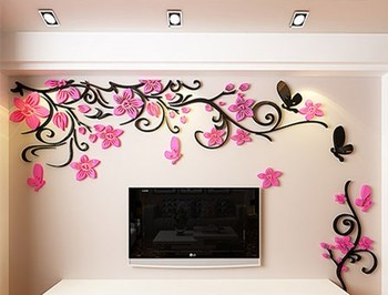 DIY Removable Vinyl Flower Wall Sticker Modern Decals For Wall Decor TV Background Decoration Mural Wallpaper For Living Room 19